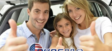 Cheerful family showing thumbs up
